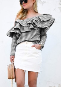 Black Striped Asymmetric Shoulder Cascading Ruffle Long Sleeve Fashion Blouse