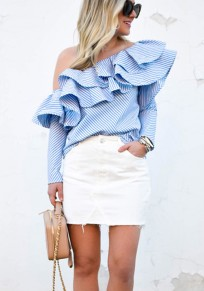 Blue Striped Asymmetric Shoulder Cascading Ruffle Long Sleeve Fashion Blouse