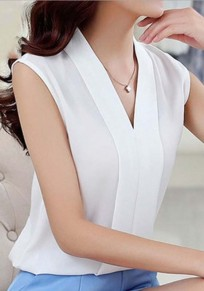 White Irregular Plunging Neckline Sleeveless Fashion Blouse
