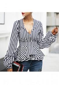 White-Blue Striped Ruffle V-neck Lantern Sleeve Fashion Blouse