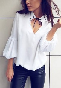 White Lace-up Lantern Sleeve V-neck Going out Blouse