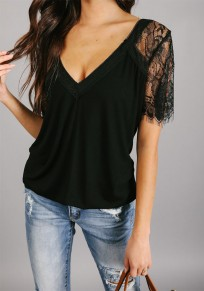 Black Patchwork Lace V-neck Going out Sweet Blouse