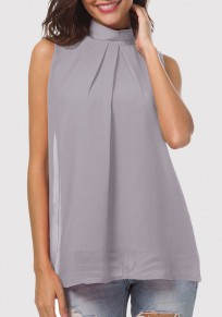 Light Grey Cut Out Pleated Band Collar Sleeveless Casual Blouse