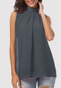 Dark Grey Cut Out Pleated Band Collar Sleeveless Casual Blouse