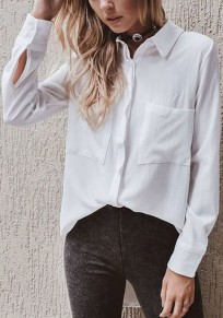 White Single Breasted Pockets Turndown Collar Office Worker/Daily Casual Blouse