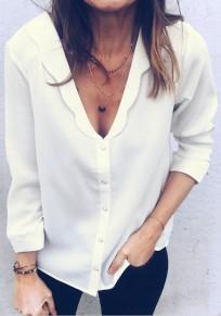Weiß Einreihig Tiefer V-Ausschnitt Langarm Oversize Mode Bluse Hemd Damen Oberteile Günstig