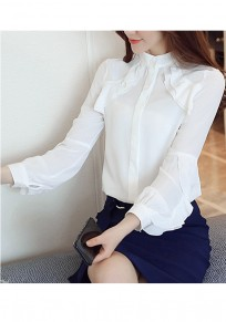White Buttons Ruffle Band Collar Star Stalker Office Worker/Daily Blouse