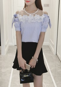 Blue Striped Lace Grenadine Bow Round Neck Sweet Blouse