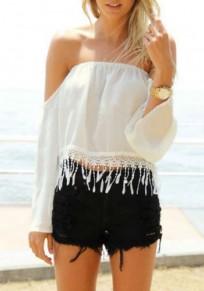 White Patchwork Tassel Boat Neck Long Sleeve Fashion Blouse