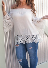 White Lace Cut Out Off Shoulder Bell Sleeve Sweet Going out Chiffon Blouse