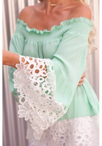 Green Lace Cut Out Off Shoulder Bell Sleeve Sweet Going out Chiffon Blouse
