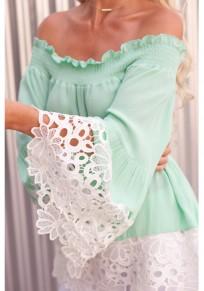 Grün Flickwerk Spitze Boot-Ausschnitt Off Shoulder Schick Chiffon Schulterfreie Bluse Damen Oberteile Top