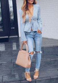 Light Blue Plaid Sashes Peplum Flare Sleeve Deep V-neck Sweet Going out Blouse