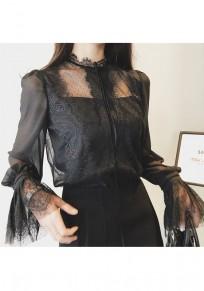 Black Patchwork Lace Grenadine Belt Round Neck Long Sleeve Fashion Blouse