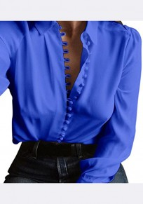 Blue Single Breasted Turndown Collar Long Sleeve Casual Blouse