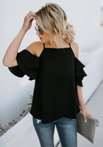Black Cascading Ruffle Cut Out Spaghetti Strap Sweet Going out Blouse