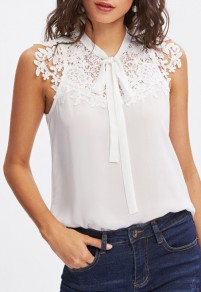 White Cut Out Lace Lace-up Chiffon Going out Blouse