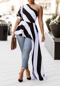 Black Striped Zebra Print Asymmetric Shoulder Peplum Irregular Elegant Worker Suit Blouse
