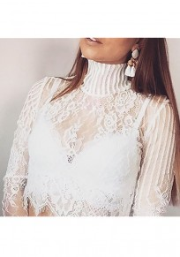 White Lace Zipper Band Collar Sheer Clubwear Party Blouse
