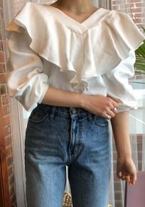 White Ruffle Peplum V-neck Long Sleeve Casual Blouse