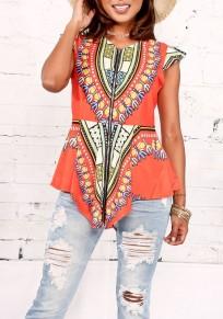 Nacarat Irregular Tribal Floral Print Peplum Cap Sleeve Bohemian Casual Blouse