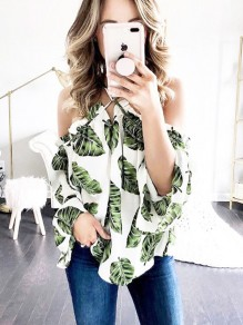White Palm Leaf Print Draped Halter Neck Off Shoulder Backless Bohemian Blouse