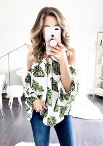 Camicetta fiori tagliati alla moda senza schienale verdi