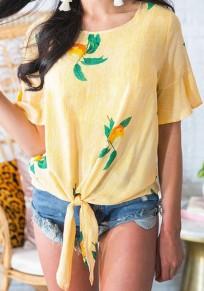 Chemisier noeud à fleurs col rond bohème doux jaune