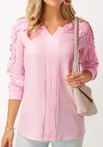 Blusa corte de encaje v-cuello moda rosa