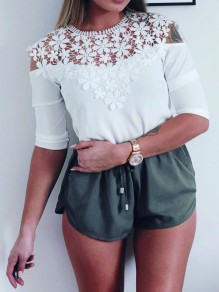 White Flowers Lace Cut Out Round Neck Casual Blouse