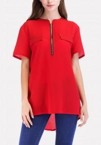 Rotes Reißverschluss Vokuhila Kurzarm Beiläufige Chiffon Bluse Tops Oberteile Damen Mode