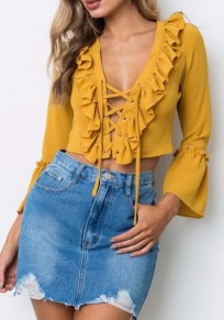 Yellow Drawstring Cascading Ruffle Crop V-neck Fashion Blouse