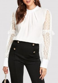 White Polka Dot Grenadine Buttons Ruffle Cut Out Office Worker/Daily Blouse