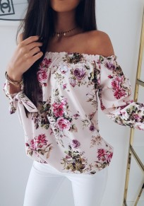 Weiß Blumendruck Off Shoulder Langarm Mode Strand Sommer Bluse Top Oberteile Damen