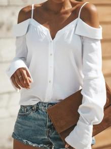Weiß Spaghettiträger Off Shoulder V-Ausschnitt Rüschen Knöpfen Langarm Mode Blusen Strand Top Oberteile Damen