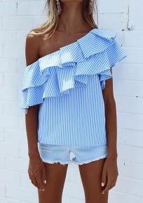 Blaue Gestreifte Rüschen One Shoulder Kurzarm Beiläufig Bluse Tops Oberteile Damen Mode