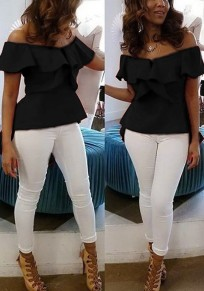 Black Ruffle Irregular Slit Swallowtail Peplum Off Shoulder High-low Backless Elegant Blouse