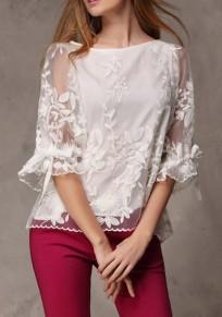 Weiße Blumenstickerei Schleife Rundhals Elegante Chiffon Bluse Top Oberteile Damen Mode