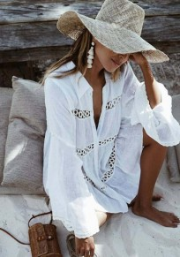 White Patchwork Ruffle Lace Buttons Turndown Collar Casual Blouses