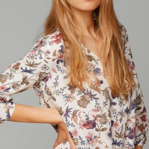 White Floral Print Irregular V-neck Long Sleeve Casual Blouse
