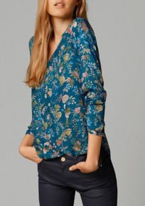 Blue Floral Print Irregular V-neck Long Sleeve Casual Blouse
