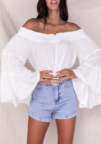 White Pleated Ruffle Off Shoulder Backless Bell Sleeve Beach Party Casual Blouse