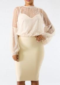 White Patchwork Pearl False Two Piece Sheer Lantern Sleeve Elegant Workwear Blouse