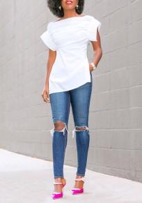 White Zipper Side Slit Off Shoulder Office Worker Elegant Blouse