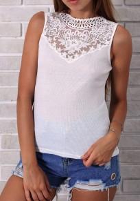 White Patchwork Lace Round Neck Sleeveless Fashion Blouse