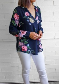 Blue Floral Buttons V-neck Long Sleeve Casual Blouse