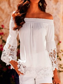 White Patchwork Lace Cut Out Boat Neck Fashion Blouse