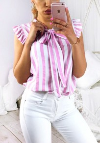 Pink Striped Bow Ruffle Irregular Print Fashion Blouse