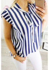 Blue Striped Bow Ruffle Irregular Print Fashion Blouse