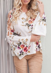 Beige Floral Cut Out Ruffle Print Round Neck Fashion Blouse